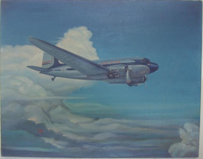 23: C.Dent Aviation Oil on Canvas, United Airlines