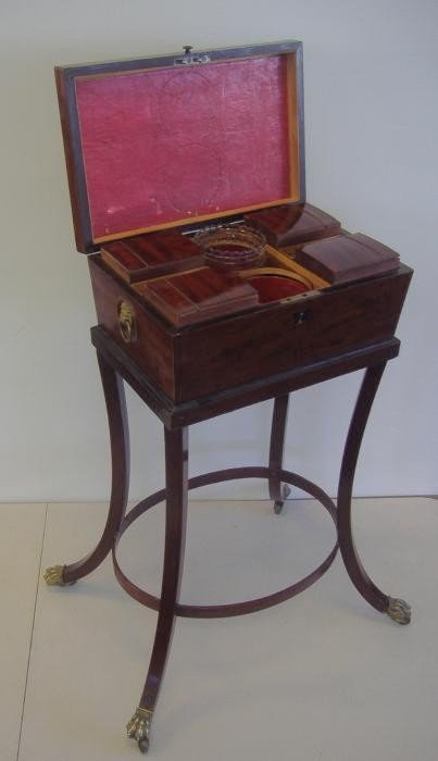 116: c1820s Regency Teapoy or Tea Caddy on Stand
