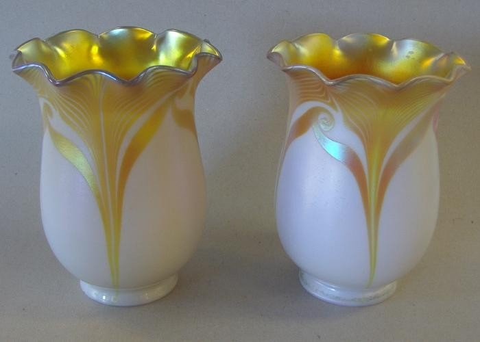8: Pair of Steuben Art Glass Pulled Feather Shades