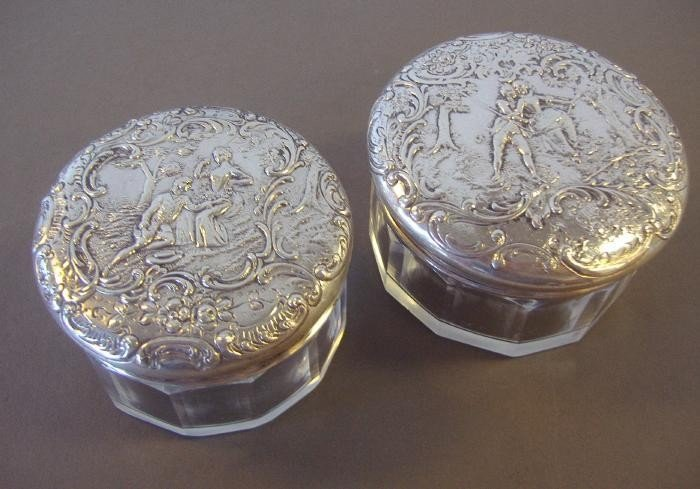 22: Two 800 Silver Continental Powder Jars