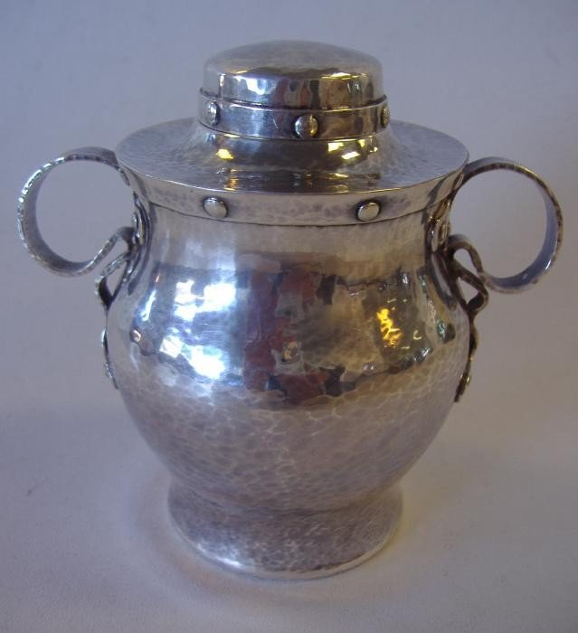 23: Hammered Arts & Crafts Sterling Tea Caddy