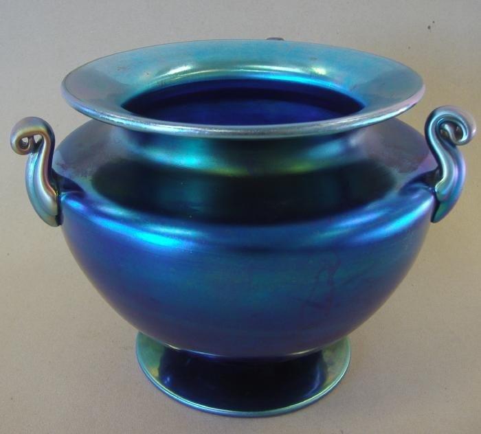 7: Steuben Blue Aurene 3 Handled Vase, signed