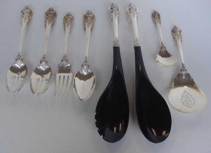 21: 8 Grande Baroque Sterling Serving Spoons & Forks