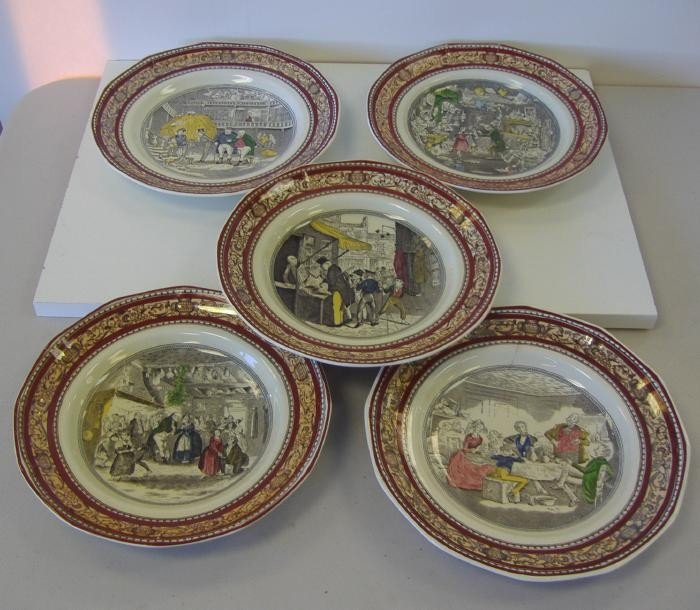 69: Adams Dickens Old Curiosity Shop Plates, Set of 5