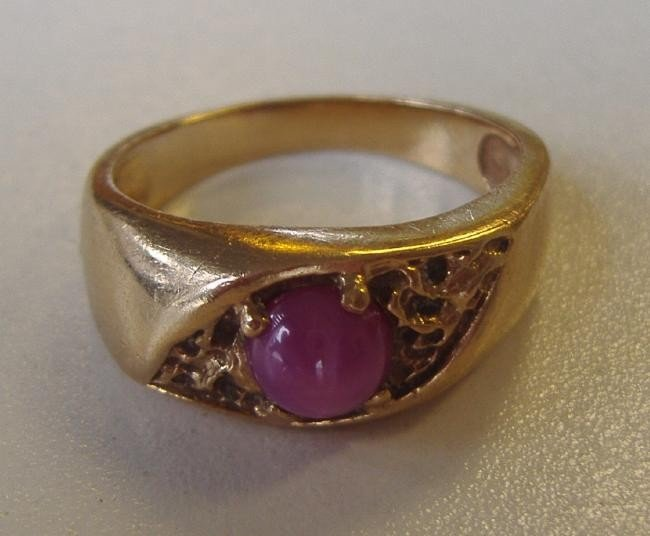 84: Red Star Sapphire Ring set in 14K Gold - 2