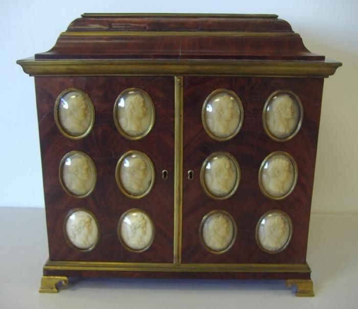 128: Grand Tour Cameo Collector's Cabinet w/ Cameos
