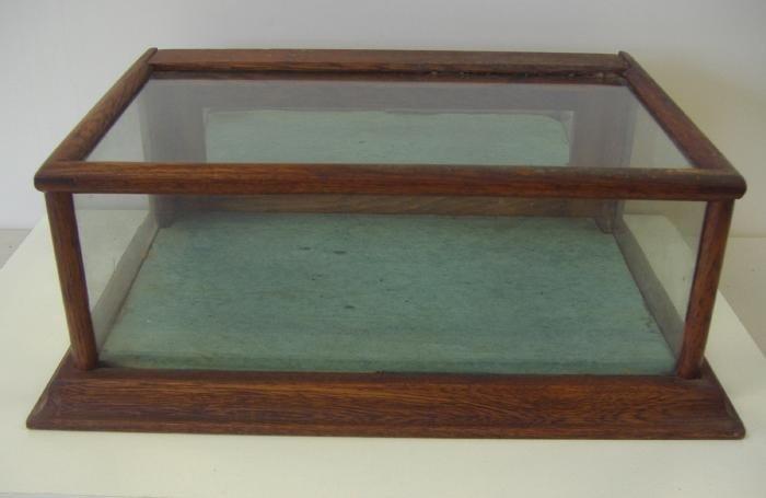 153: Vintage Oak & Glass Table Top Display Case