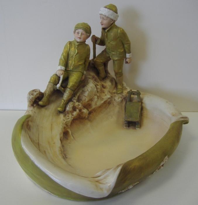2: Royal Dux Figural Centerpiece Bowl, Boys Sledding