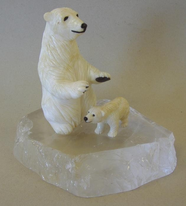 3: Carved Stone & Rock Crystal Polar Bear & Cub