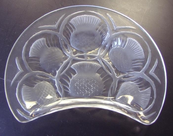 8: Lalique France Crystal Thistle Crescent  Dish