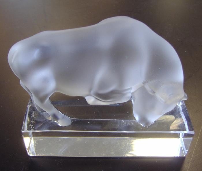 10: Lalique France Frosted & Crystal Bull Paperweight