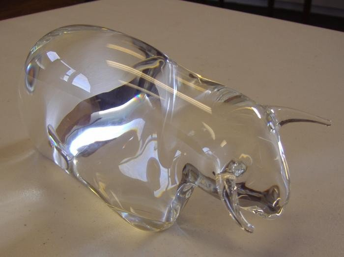 12: Steuben Powerful Bull Glass Sculpture, style 8738