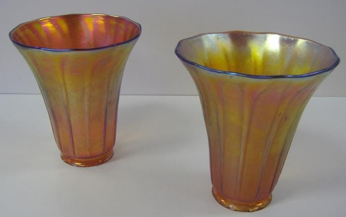 16: Two Iridescent Art Glass Ribbed Shades