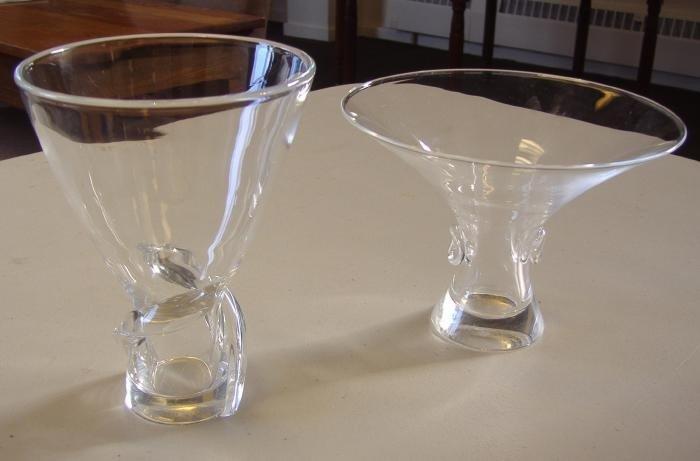 17: 2 Steuben Crystal Vases, signed