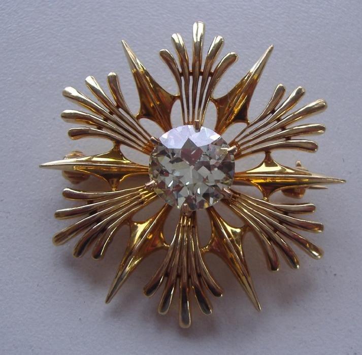 88: 2.05 carat Diamond & 14K Gold Brooch