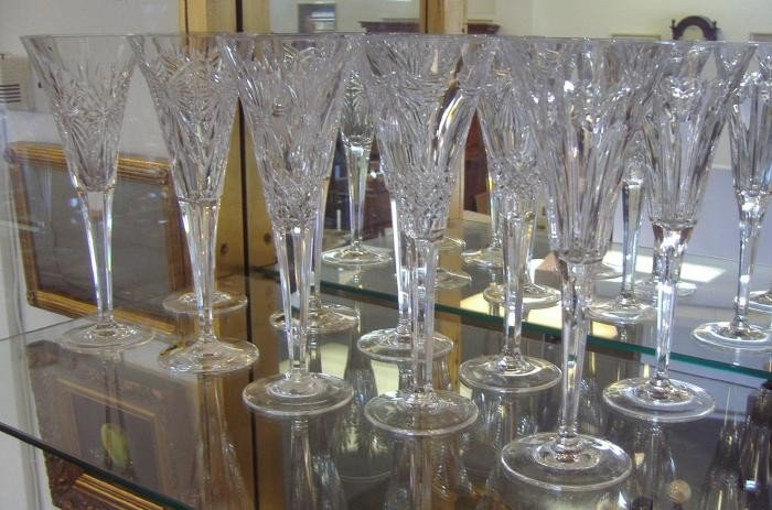8: 5 Pair Waterford Champagne Toasting Flutes Glasses