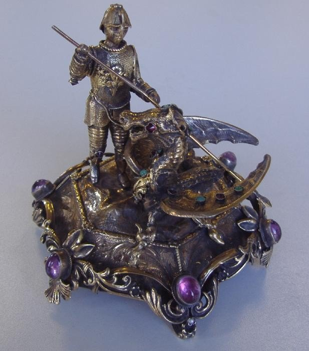 2: St George & The Dragon, Sterling Jeweled Sculpture