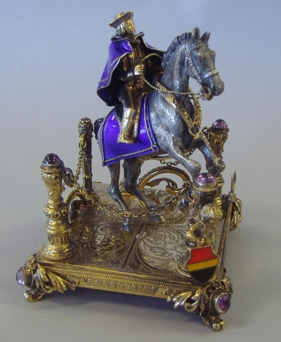 3: German Silver & Enamel Sculpture, Man on Horseback