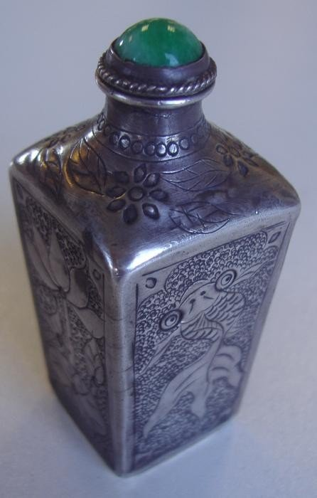 20: Chinese Sterling & Jade Snuff Bottle, signed