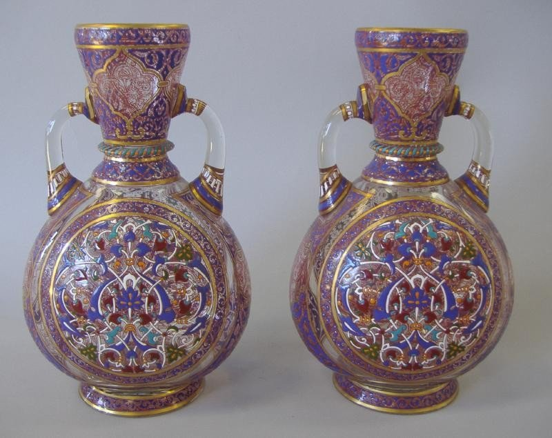 51: Pair of J & L Lobmeyr Islamic Gilt & Enamel Vases