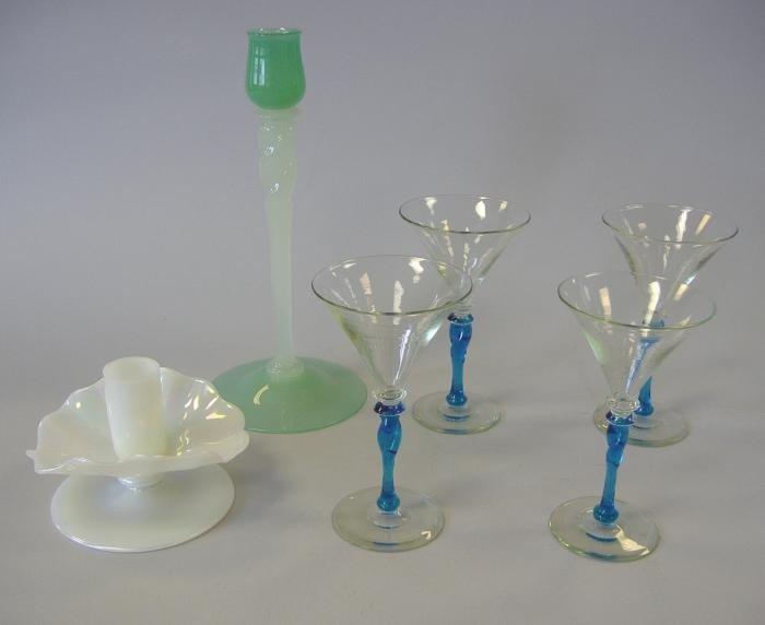 7: 2 Steuben Candlesticks & 4 Sherry Glasses