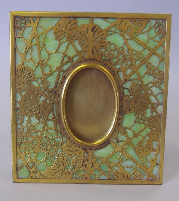 10: Tiffany Studios Grapevine Frame, Bronze & Glass