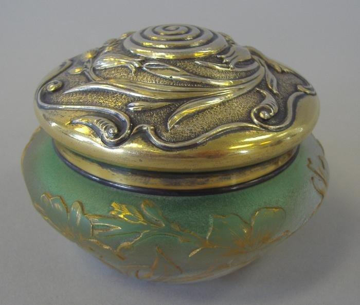 18: Daum Nancy France Cameo Glass Powder Jar