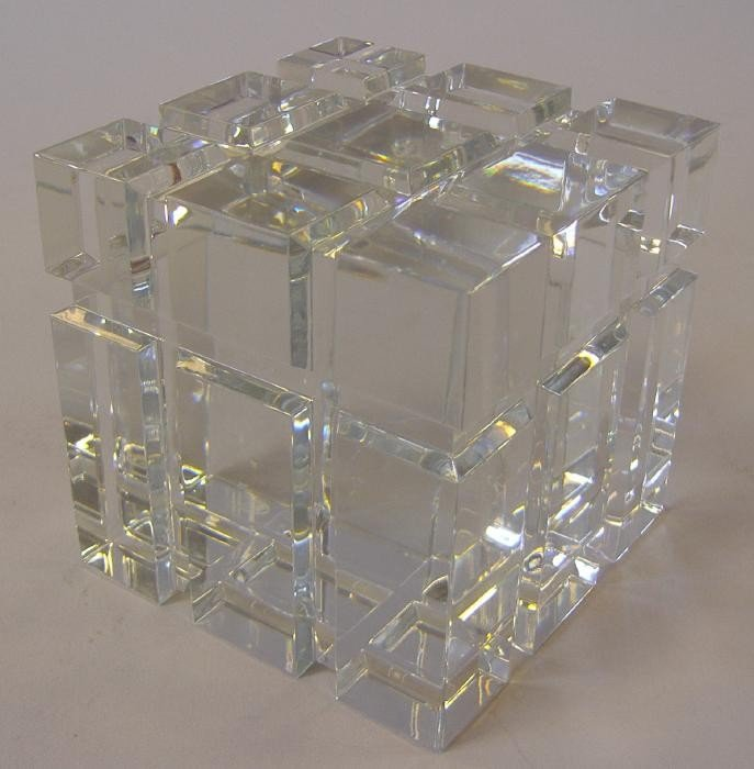 20: Large Baccarat Crystal Cube Sculpture Paperweight