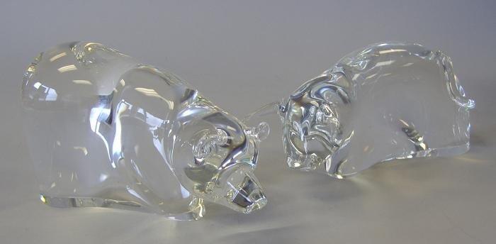 21: Steuben Powerful Bull & Bear Glass Sculptures
