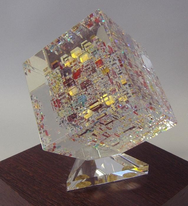24: JON KUHN Glass Cube Sculpture, signed & dated