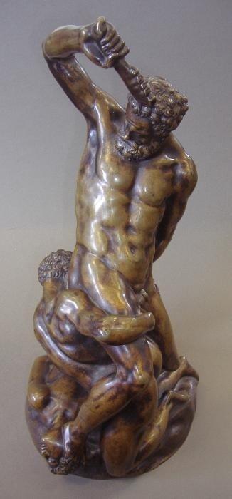 134: Male Nude Bronze Samson Slaying 2 Philistines