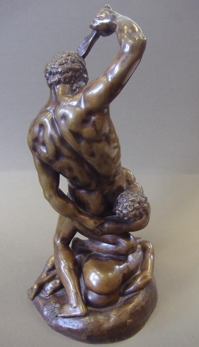 134: Male Nude Bronze Samson Slaying 2 Philistines - 3