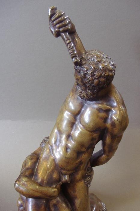 134: Male Nude Bronze Samson Slaying 2 Philistines - 4