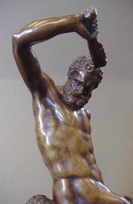 134: Male Nude Bronze Samson Slaying 2 Philistines - 5
