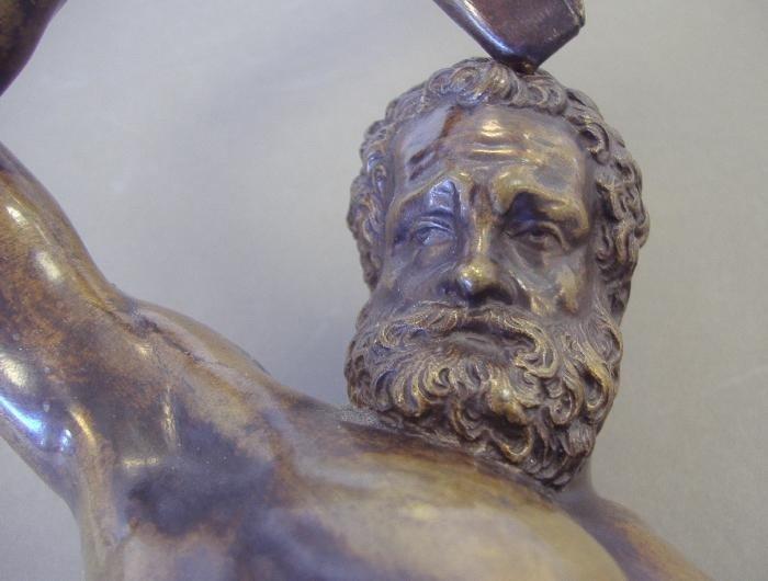134: Male Nude Bronze Samson Slaying 2 Philistines - 8