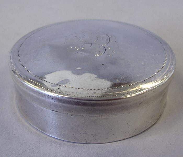 14: Coin Silver Snuff or Pill Box, Isaac Hutton, 1790s