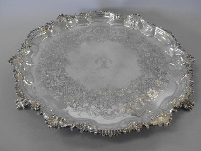 15: Sterling Salver Tray, London, 1791 Crested & Motto