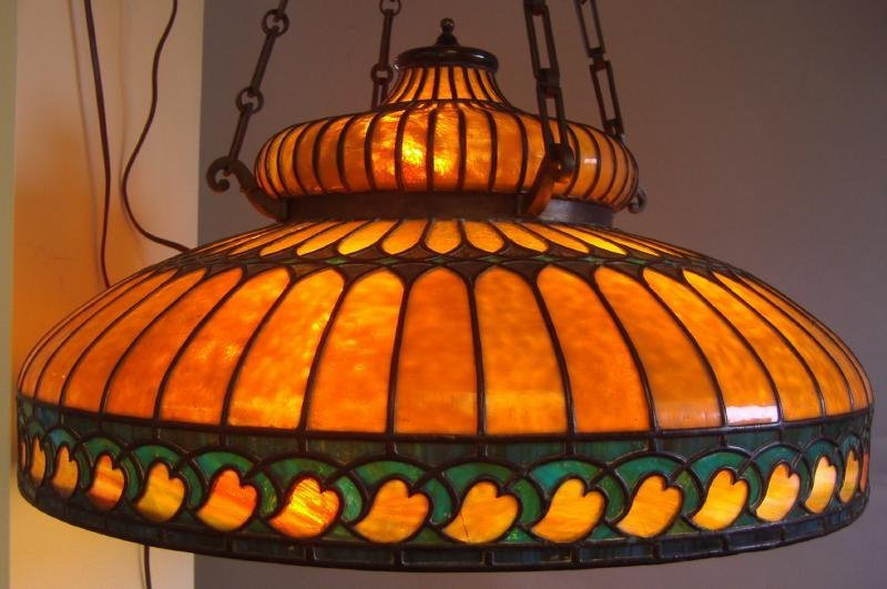 119: Duffner & Kimberly Leaded Glass Chandelier c.1905