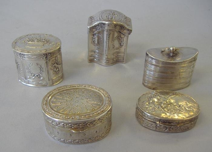 13: 5 Continental Silver Pill or Snuff Boxes