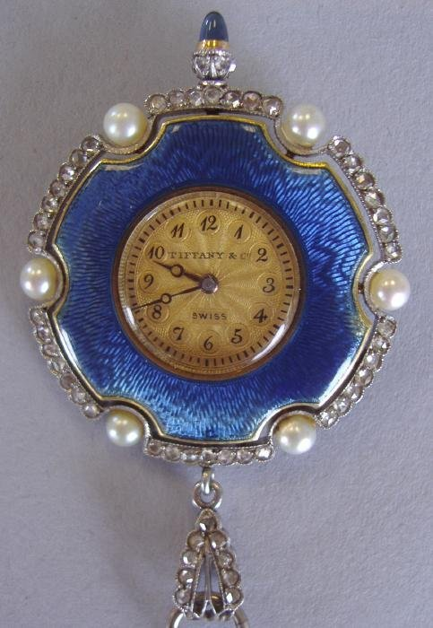90: Tiffany Edwardian Enamel & Diamond Pendant Watch
