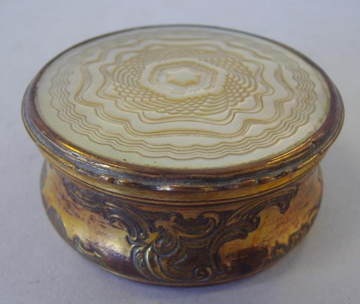 106: Carved Mother of Pearl & Etched Brass Snuff Box