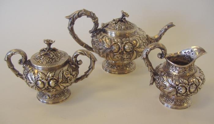 1: S. Kirk & Son 3-Piece Sterling Repousse Tea Set