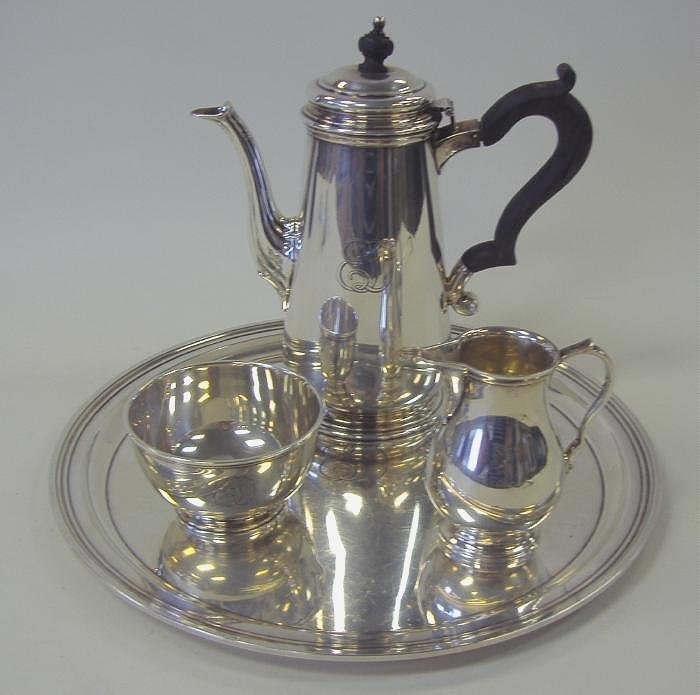 3: Tiffany & Co Sterling Tea Set with Tray 4-Pieces