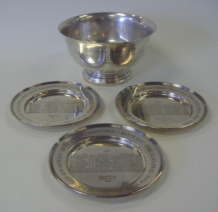 4: Cartier Sterling Squash Trophy Bowl & Plates