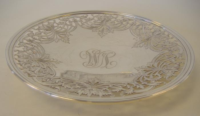 7: Sterling Footed Cake Plate, Floral Open-Work Motif