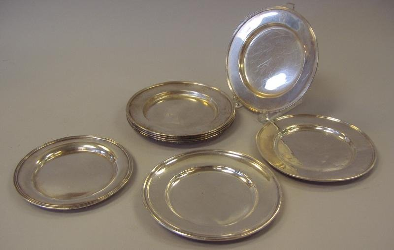 9: Eight Sterling Bread Plates, Gorham, Alvin, etc.