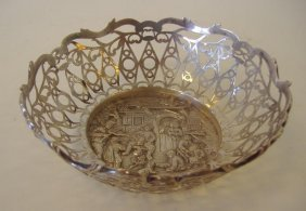 Continental Silver Bowl, Village Scene, Signed
