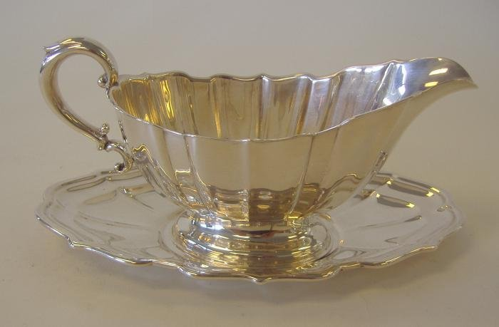 """14: Sterling Silver Sauce Boat & Tray, """"Chippendale"""""""