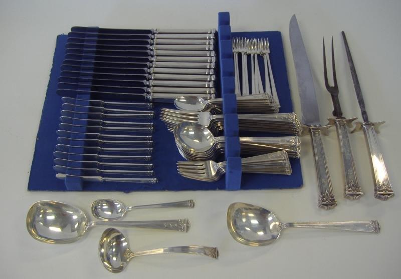 17: J.S. Co Sterling Silver Flatware, 79-pcs 1921 ptn