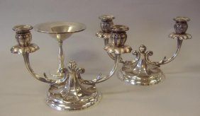 Pair Of Peruvian Sterling Candelabra & Candy Dish